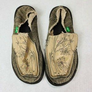 Sanuk sidewalk surfer slip on shoes womens size 5